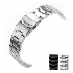 3 Beads Solid Stainless Steel Wrist Strap Watch Band With Double Push Button Folding Clasp