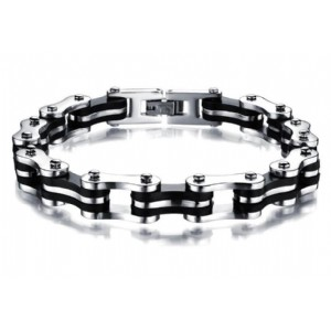 Bike Chain Bracelet Silver Black Stainless Steel Link Bicycle Bike Chain Bracelets Jewelry
