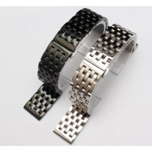 Butterfly Folding Buckle Stainless Steel Band Strap 7 Beads Solid Links Bracelet Watch Band