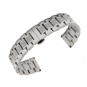 Classic Solid Stainless Steel Watch Band 5 Beads Fold Clasp Watch Strap for Longines Link Bracelet
