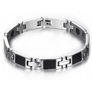 Fashion Men Hematite Magnetic Bracelet Stainless Steel Chain with Zircon Stone Wholesale