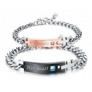 Lover Couple Bracelets Stainless Steel Her Beast His Beauty Bracelets with Zircon