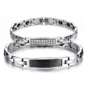 Lover′s Couple Jewelry Stainless Steel Magnetic Health Chain Bracelets