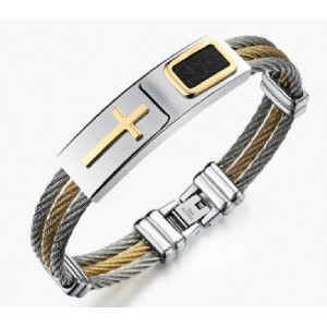 Men's Bracelet 3 Rows Wire Chain Bracelets Bangles Fashion Punk Stainless Steel Cross Bracelet