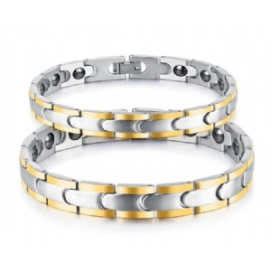 Men & Women Jewelry Health Care Magnetic Stainless Steel Anti Fatigue Lovers Bracelet&Bangles