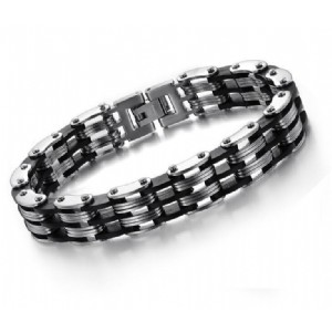Motor Bike Chain Motorcycle Chain Bracelet Bangle Jewelry with Silicone Hip-Hop Style