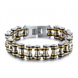 Motorcycle Bracelet for Men Punk Black Steel Gold Color Link Chain Biker Bicycle Cool Men Bracelets
