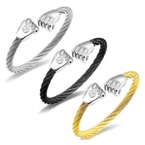 Stainless Steel 3 Colors Twisted Cuff Bracelet 195mm