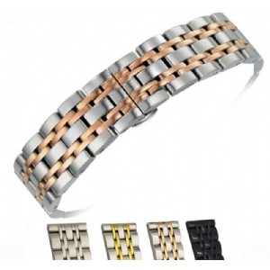 Stainless Steel 7 Beads Watch Band Strap 14 16 18 20 22mm Watchband High-End Classic Wristband