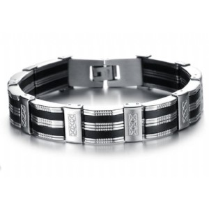 Stainless Steel & Black Silicone Mens Bracelet Jewelry Wristband Band