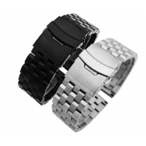Stainless Steel Men's Tank Watch Band 5 Beads Fold Clasp Watch Strap for Brand Watch Link Bracelets