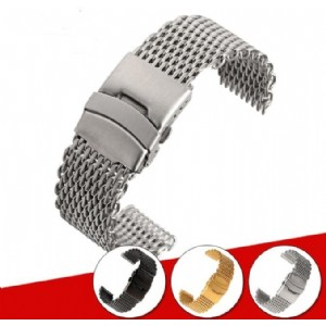Stainless Steel Watchband Strap Wire Shark Mesh Bracelet Flat End for Omega Breitling