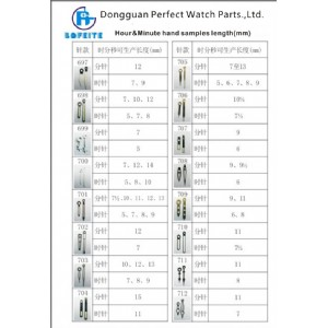 Top Quality Customized Different Sizes Watch Hands Wrist Watch Accessories Watch Parts